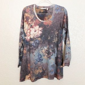 EUC Soft Surroundings grey floral Tillie tunic top